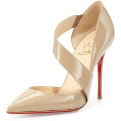 Christian Louboutin Ograde Cross-Strap Red-Sole Pump ($765) ❤ liked on Polyvore featuring shoes, pumps, heels, louboutin, christian louboutin, leather pumps, red leather pumps, high heel pumps, sexy red pumps and red pointed toe pumps
