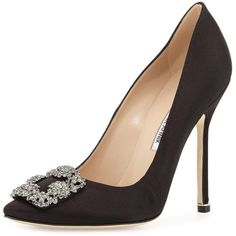 Manolo Blahnik Hangisi Crystal-Buckle Satin Pump ($965) ❤ liked on Polyvore featuring shoes, pumps, heels, shoes and boots, black, black satin pumps, black stilettos, satin pumps, pointed toe pumps and black pointed toe pumps