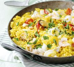 Spanish seafood rice. This quick version of paella is superhealthy, plus it's all cooked in one pan so there's minimal washing-up.