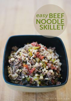 Easy Beef Noodle Skillet Recipe- http://dearcrissy.com/beef-noodle-skillet/?utm_source=MadMimi_medium=email_content=Today+at+Dear+Crissy_campaign=20130524_m116148316_RSS+Feed+for+http%3A%2F%2Fdearcrissy_com%2Frss2_term=Read+More