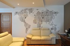 Use newspaper to make a wall design, like a map. | 24 Creative Ways To Decorate Your Place For Free