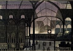 """""""Liverpool Street Station"""", linocut by Edward Bawden History Of Illustration, Graphic Illustration, London Illustration, Liverpool Street, Royal College Of Art, London Art, Art Graphique, Linocut Prints, Illustrations And Posters"""