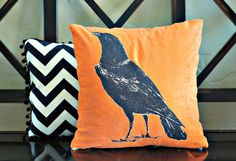 Raven Pillow Cover 14x14 by larksongcreations on Etsy, $22.00