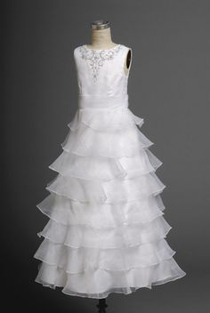 Wholesale Cheap Beautiful Latest Layered Organza Applique Long Actual First Communion Dress (AFCD-042)