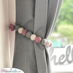 Our Felt Ball Pom Pom garlands can be also used a curtain tie backs. Our Felt Ball Pom Girls Bedroom Curtains, Nursery Curtains, Home Curtains, Kids Curtains, Master Bedroom, Light Bedroom, Modern Curtains, Diy Bedroom, Vintage Curtains