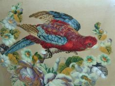 Antiques Atlas - Rare Century Tapestry Woolwork Parrot In Good Victorian Pattern, Victorian Era, Needlepoint, Parrot, 19th Century, Cross Stitch, Tapestry, Embroidery, Antiques