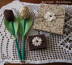Kit bloquinho, porta post-it, lápis tulipa - marrom/bege