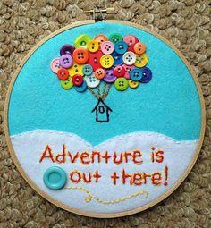 "Aqua Blue Up-Inspired 7"" Inch Hoop Wall Art (Nursery, Play Room, Baby Shower Decor, Disney/Pixar, Balloon Art) - MADE TO ORDER"