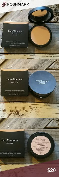 NIB Bare Minerals Bare-Pro In excellent condition, never been used- I'm a makeup order and I'm giving my makeup area and Nice cleaning - my loss your gain- it still has the spongy that it came with unused- color is Sateen 05 - 0.34oz- performance wear powder foundation- you can use it wet or dry- vitamin and mineral infused- high impact skin matching pigments first stay true color bare minerals  Makeup Foundation