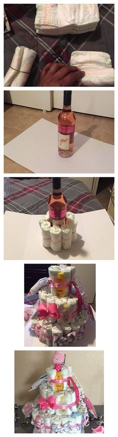 Made this diaper cake with a surprise bottle of wine in the middle for mommy (After baby comes out and ur done breast feeding lol)!!!!!