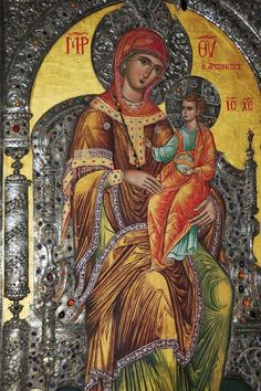 "The Virgin Mary is also called ""Panagia"" or All-Holy (Greek: Παν – all and αγία - holy) ""Пресвятая"" [Rus.] Here, Panagia Arizonitissa (ΠΑΝΑΓΙΑ ΑΡΙΖΟΝΙΤΙΣΣΑ) icon from Saint Anthony's Greek Orthodox Monastery of Arizona, USA. Orthodox Catholic, Russian Orthodox, Byzantine Icons, Byzantine Art, Religious Icons, Religious Art, Church Icon, St Anthony's, Verge"
