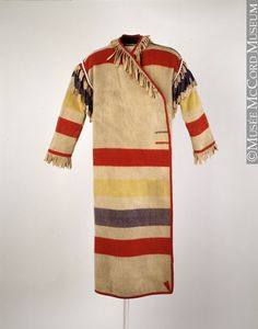 Capote, late or early c no hood Native American Clothing, Native American Indians, Capote Coat, Mountain Man Rendezvous, Hudson Bay Blanket, Blanket Coat, Fur Trade, Period Outfit, Textiles