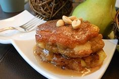 Peanut Butter and Fresh Apple Pancakes with Peanut Butter Maple Syrup | One Green Planet