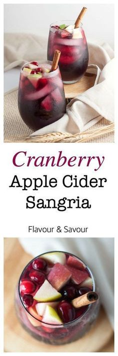 Cranberry Apple Cider Sangria. Celebrate the season with this simple Cranberry Apple Cider Sangria flavoured with fresh cranberries and apples. This one is a crowd-pleaser for any season!  www.flavourandsavour.com