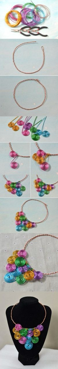 Tutorial on How to Make a Wire Wrapped Multi Colored Statement Necklace from LC.Pandahall.com #pandahall