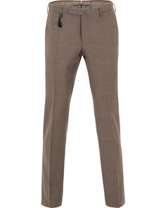 Incotex Super 100´s Light Flannel Trousers Light Brown i gruppen Byxor hos Care of Carl (13045111r)