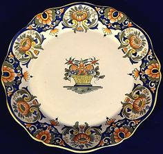 Exquisite Old Rouen Decor Flower Basket Plate Desvres N Quimper Pottery Bowls, Ceramic Pottery, Ceramic Plates, Decorative Plates, Quimper Pottery, Kitchenware, Tableware, China Plates, Flower Basket