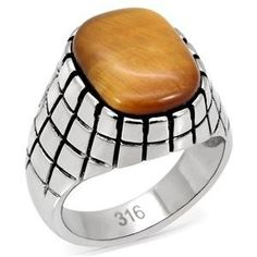 """Stamped 316 Stainless Steel Synthetic Tiger??s Eye Men??s Ring. FREE SHIPPING! Purchases $25 or more can receive Free US Shipping. Enter code CAP2B6YF at checkout!. Free Gift Box With Every Order. 30-Day Return/Exchange Guarantee. Want to see more of our jewelry? Just Click """"Mai Jewelry Shop & Hair Accessories"""" above to see more."""