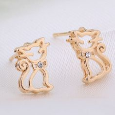 6mm 18K Gold Plated Fashion Beautiful Cate Design Inlaid Zircon Ladies Copper Earrings