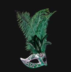 mascara veneciana colombina piume star verde y plata    mascara veneciana colombina piume star verde y plata confeccionada a mano y con plumas