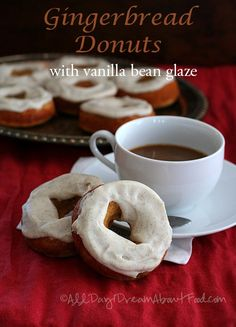 Low carb Gingerbread Donuts with Vanilla Bean glaze - you can make them with regular cream cheese or go the dairy-free route.