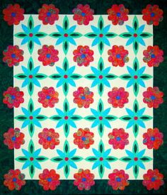 "Jewel of the Sierra is a quilt featured in ""Flip & Fuse"" Fun! The Tahoe Collection book from Happy Stash Quilts."