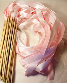 Satin Wedding Ribbon Wands  Custom Colors  by LivingAFairytale