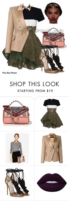 """Plus Size Please"" by keys2luxlife on Polyvore featuring Fendi, Alex Perry, ASOS, Balmain, Jimmy Choo, Lime Crime, Tom Ford, Beauty, plussize and styleicon"
