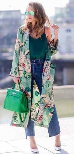 summer outfits  Green Floral Print Kimono