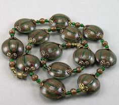 Vtg Rare Moretti Venetian Murano Glass Aventurine Tabular Beads Necklace  | eBay
