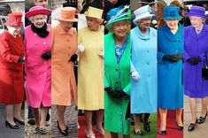 Rainbow Queen Liz is ahead of trend with multicoloured collection of outfits