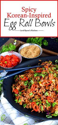 Spicy Korean Inspired Egg Roll Bowls Spicy Korean Inspired Egg Roll Bowls – Lord Byron's Kitchen Spicy Recipes, Pork Recipes, Asian Recipes, Healthy Recipes, Ethnic Recipes, Asian Foods, Yummy Recipes, Pork Shoulder Picnic Roast, Kitchens