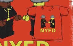 """NYFD Firefighter Fire Men Minifigures by Customize My Minifig"" Kids Clothes by Chillee 