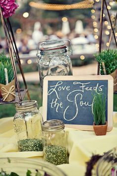 I love chalkboard signs, so cute if throwing bird seed.