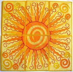 Quilted postcard in sun motif. Sun Moon Stars, Sun And Stars, Sun Doodles, Tangled Sun, Sun Worship, Sun Painting, Good Day Sunshine, Sun Designs, Look Boho