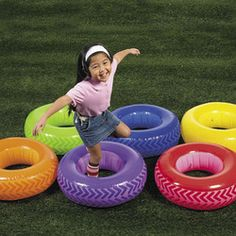 6 Inflatable Obstacle Course Tires Carnival Kids Birthday Party Game Preschool | eBay