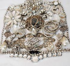 White Rhinestone Destash, broken vintage jewelry lot, craft repurpose