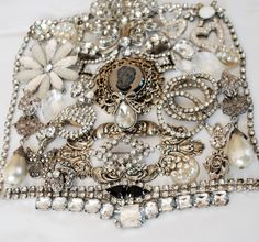White Rhinestone Destash, broken vintage jewelry lot, craft repurpose