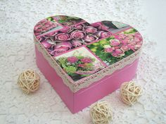 Wooden Treasure Box Pink Roses, Trinket Box, Mothers Day Gift, Heart Box, Easter…