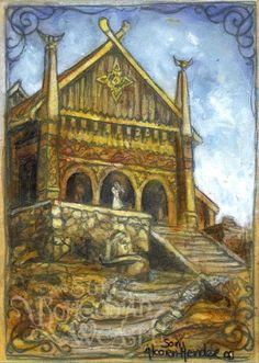 Mead Halls were buildings where victories and heros were celebrated and feasts were served. In the tale of Beowulf, King Hrogthar's mead hall is where the battle with Grendel took place. Vikings, Mead Hall, Beowulf, Jrr Tolkien, Viking Age, Dark Lord, Norse Mythology, The Hobbit, Hobbit Hole