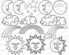 Sun Moon Stars Rainbow Clipart Cute Digital Stamps by InkeeDoodles, $5.00
