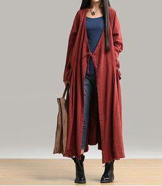 linen coat linen dress Open Long Knitwear Loose by customsize, $89.00