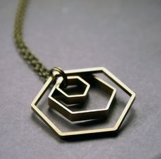 Geometric Hexagon Necklace - Minimalist Brass on Wanelo