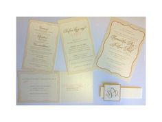 Blush and gold wedding invitation on pearl linen stock!_A to Z Paperie!