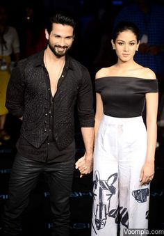 Shahid Kapoor and Mira Rajput make a hot couple at Masaba's Lakme Fashion Week show. Mira wore seperates by the designer. via Voompla.com