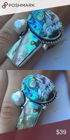 Mother of pearl abalone ring size 8.5 new boho Leave and in charge statement ring! Features abalone and mother of pearl natural stones size 8.5 Artisan Jewelry Rings