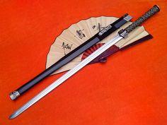 HAN JIAN CHINA SWORD-carbon steel blade-Handmade-Matt black lacquer scabbard