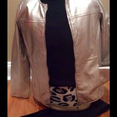 Jacket Silver faux lined leather jacket with center front zipper and side slit pockets. Susan Graver Jackets & Coats