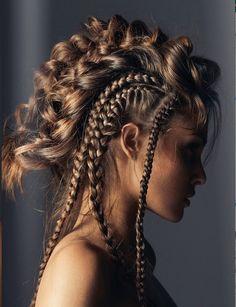 Braided Hairstyles, Cool Hairstyles, Viking Hair, Crazy Hair, Grunge Hair, Great Hair, Hair Art, Hair Designs, Gorgeous Hair