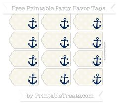 Free Eggshell Dotted Pattern Nautical Party Favor Tags